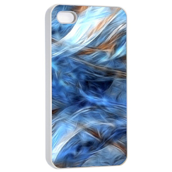 Blue Colorful Abstract Design  Apple iPhone 4/4s Seamless Case (White)