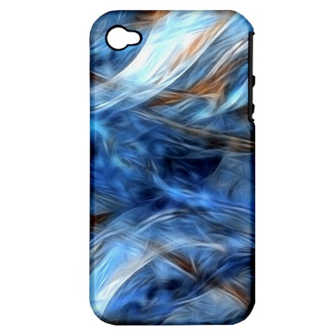 Blue Colorful Abstract Design  Apple iPhone 4/4S Hardshell Case (PC+Silicone)