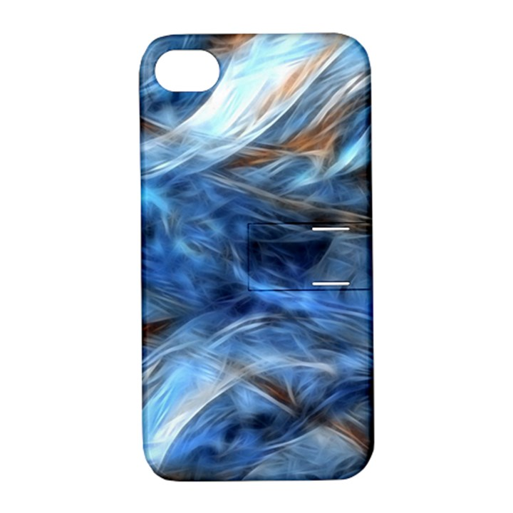Blue Colorful Abstract Design  Apple iPhone 4/4S Hardshell Case with Stand