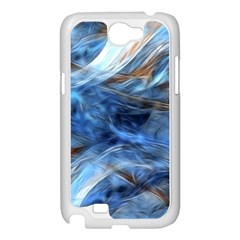 Blue Colorful Abstract Design  Samsung Galaxy Note 2 Case (White)