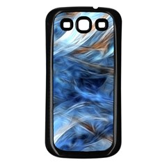 Blue Colorful Abstract Design  Samsung Galaxy S3 Back Case (Black)