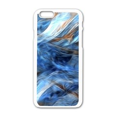 Blue Colorful Abstract Design  Apple iPhone 6/6S White Enamel Case