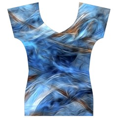 Blue Colorful Abstract Design  Women s V-Neck Cap Sleeve Top