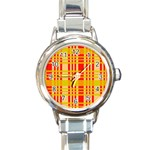 Check Pattern Round Italian Charm Watch Front