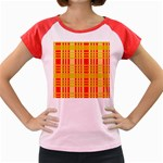 Check Pattern Women s Cap Sleeve T-Shirt Front