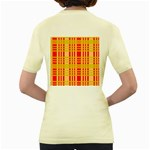 Check Pattern Women s Yellow T-Shirt Back