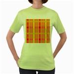 Check Pattern Women s Green T-Shirt Front