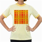 Check Pattern Women s Fitted Ringer T-Shirts Front