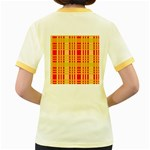Check Pattern Women s Fitted Ringer T-Shirts Back