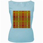 Check Pattern Women s Baby Blue Tank Top Front