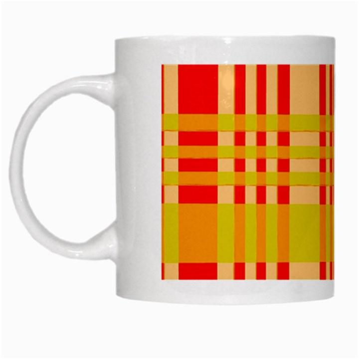 Check Pattern White Mugs