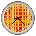 Check Pattern Wall Clocks (Silver)  Front