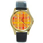 Check Pattern Round Gold Metal Watch Front