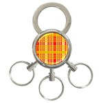 Check Pattern 3-Ring Key Chains Front
