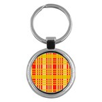 Check Pattern Key Chains (Round)  Front