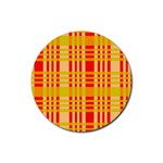 Check Pattern Rubber Coaster (Round)  Front