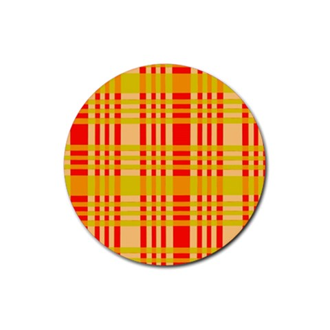 Check Pattern Rubber Round Coaster (4 pack)