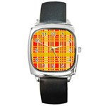 Check Pattern Square Metal Watch Front