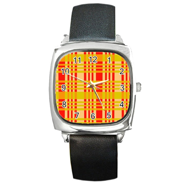 Check Pattern Square Metal Watch