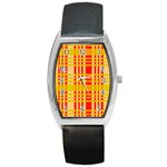 Check Pattern Barrel Style Metal Watch Front