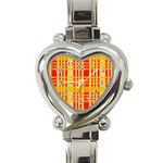Check Pattern Heart Italian Charm Watch Front
