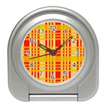 Check Pattern Travel Alarm Clocks Front