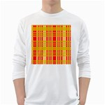 Check Pattern White Long Sleeve T-Shirts Front