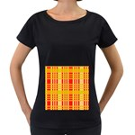 Check Pattern Women s Loose-Fit T-Shirt (Black) Front