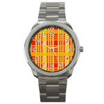 Check Pattern Sport Metal Watch Front