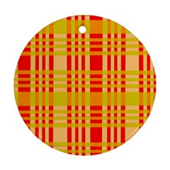 Check Pattern Round Ornament (Two Sides)