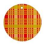 Check Pattern Round Ornament (Two Sides)  Back