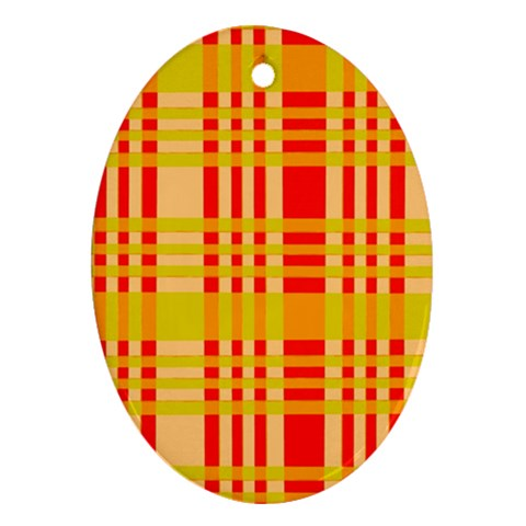 Check Pattern Oval Ornament (Two Sides)