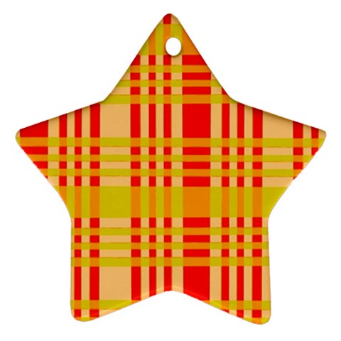 Check Pattern Star Ornament (Two Sides)