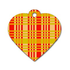 Check Pattern Dog Tag Heart (One Side)