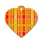 Check Pattern Dog Tag Heart (One Side) Front