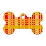 Check Pattern Dog Tag Bone (One Side) Front