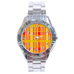 Check Pattern Stainless Steel Analogue Watch