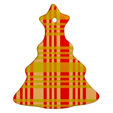 Check Pattern Christmas Tree Ornament (2 Sides)