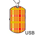 Check Pattern Dog Tag USB Flash (One Side) Front
