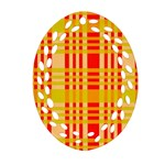 Check Pattern Oval Filigree Ornament (2-Side)  Front
