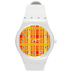Check Pattern Round Plastic Sport Watch (M)