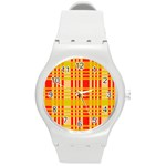 Check Pattern Round Plastic Sport Watch (M) Front