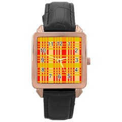 Check Pattern Rose Gold Leather Watch
