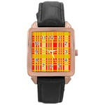 Check Pattern Rose Gold Leather Watch  Front