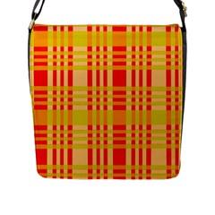 Check Pattern Flap Messenger Bag (L)