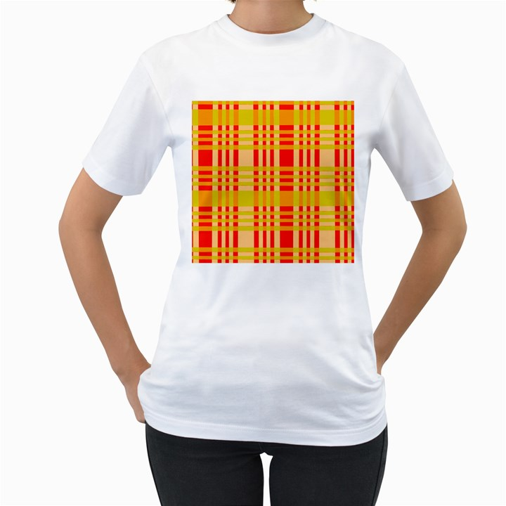 Check Pattern Women s T-Shirt (White)