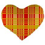 Check Pattern Large 19  Premium Flano Heart Shape Cushions Back
