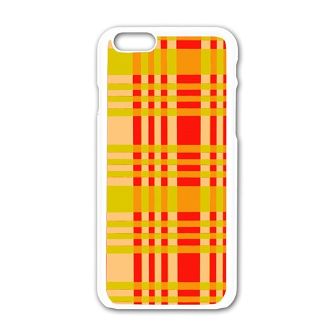 Check Pattern Apple iPhone 6/6S White Enamel Case