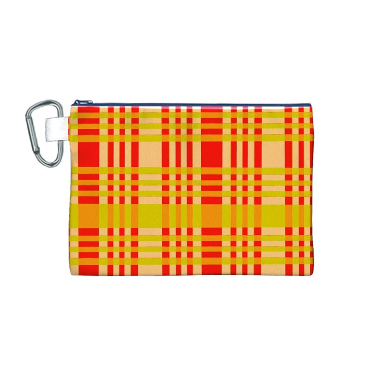 Check Pattern Canvas Cosmetic Bag (M)