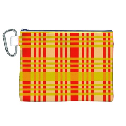 Check Pattern Canvas Cosmetic Bag (XL)